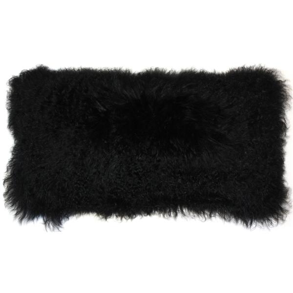 Pillow Decor - Mongolian Sheepskin Black Rectangular Pillow