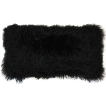 Pillow Decor - Mongolian Sheepskin Black Rectangular Pillow - $74.95