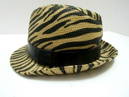 33b8ec15b8e85e Womens Zebra Straw and Black Color Fedora Trilby Hat Banded Paper One Size  - $26.44