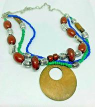 Vintage Multi Strand Wood Beaded Bohemian Necklace - $5.93