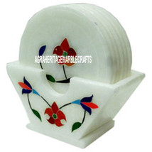 White Marble Coffee Coaster Set Floral Art Inlay Marquetry Work Home Decor Gifts - $97.89