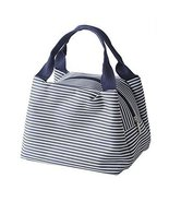 Exquisite Beauty Durable Small Square Lunch Bag, Purplish Blue Stripe - $10.50