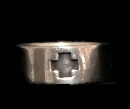 Vintage Red Cross Sterling Silver Band Ring Size 10 Green Cross  - $38.00