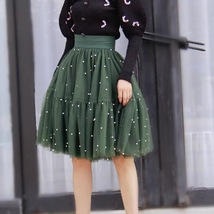Army Green A-line Knee Length Tulle Skirt High Waisted Puffy Tutu Party Skirt image 2