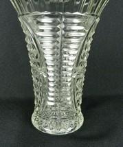 "Vtg Anchor Hocking Large Vase Clear Glass Stars Bars Thousand Lines 8.5"" H - $12.86"