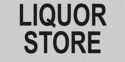 Liquor Store Black MESH Windproof Fence Banner Sign 2 Ft X 4 Ft