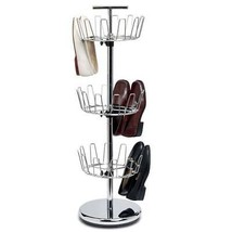 "Chrome Shoe Rack Tower 38"" High Tall 18-Pair Metal Organizer Room Closet... - $48.48"