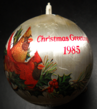 General Foam Plastics Christmas Ornament 1985 Greetings Cardinals Holly Boxed - $6.99