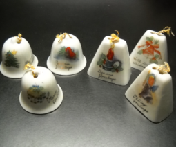 Six Christmas Bells Three Cowbell Style Three Dome Style Seasons Greetin... - $7.99