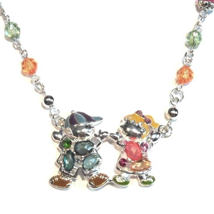 Boy Girl Necklace Earring Set Dancing Pastel Beads Silver Tone Metal Kid Jewelry no brand