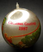 Seasons Greetings Christmas Ornament 1987 Satin Ball Children Putting Up Tree - $7.99