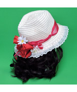 Large Hand-Decorated Women's Straw Sun Hat In With Lace, Ribbon, And Flo... - $7.95