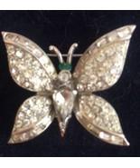 Vintage Coro Rhinestone Butterfly Pin Rhodium Plated Brooch - $27.03