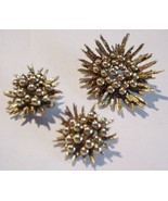 Sunburst Brooch & Earrings Set Gold tone Pin Un... - $17.77