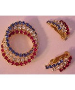 Sparkling Rainbow Color Brooch & Earrings Jewelry EX - $13.95