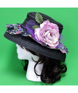 Black Hand-Decorated Women's Sun Hat With Fabric, Ribbon, And Flowers - $8.95