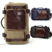 Vintage leather Canvas Rucksack Hiking School Bag Backpack Sport Satchel... - $28.40