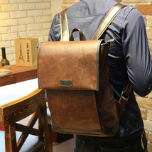 Men Faux Leather Vintage Messenger Shoulder Backpack Travel Tablet Bag - $34.59