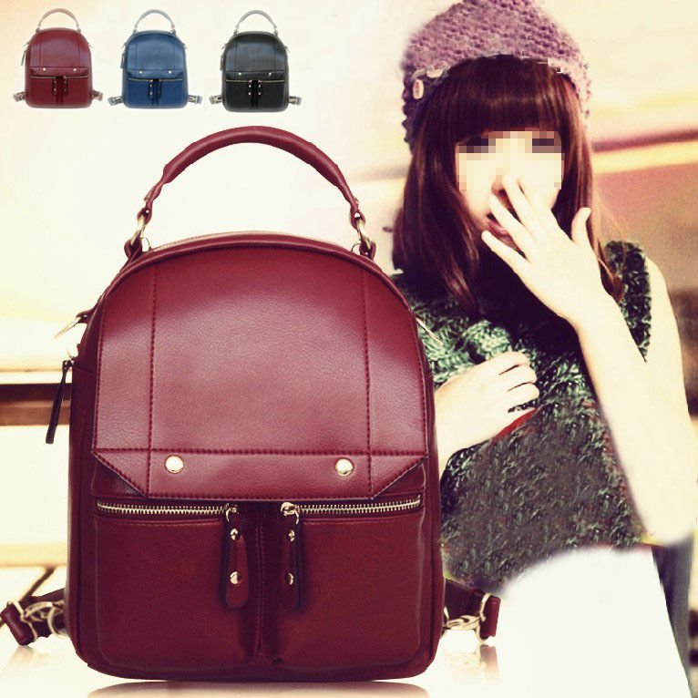 Primary image for Fashion Womens Faux Leather Tote Handbag School Shoulder Bag Camping Backpack W8