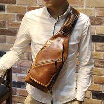 Men's Pu Leather Backpack Chest Bag shoulder Messenger Bag - $26.15