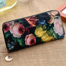 Women's PU Leather Button Fashion Clutch Ink pa... - $12.44