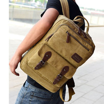 Vintage canvas Briefcase School Camping bag Men Messenger Laptop Backpack - $28.79