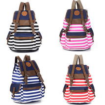 Fashion Unisex Womens Canvas Backpack Stripes Travel Rucksack Hiking Sch... - $16.14