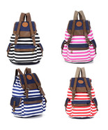 Fashion Unisex Womens Canvas Backpack Stripes Travel Rucksack Hiking School Bags - $16.14