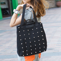 Womens Tote Bags Punk Style Rivet Studded Canva... - $14.73