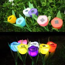5 Pcs Solar Powered Tulip Flower LED Light Yard Garden Path Way Landscap... - $16.83
