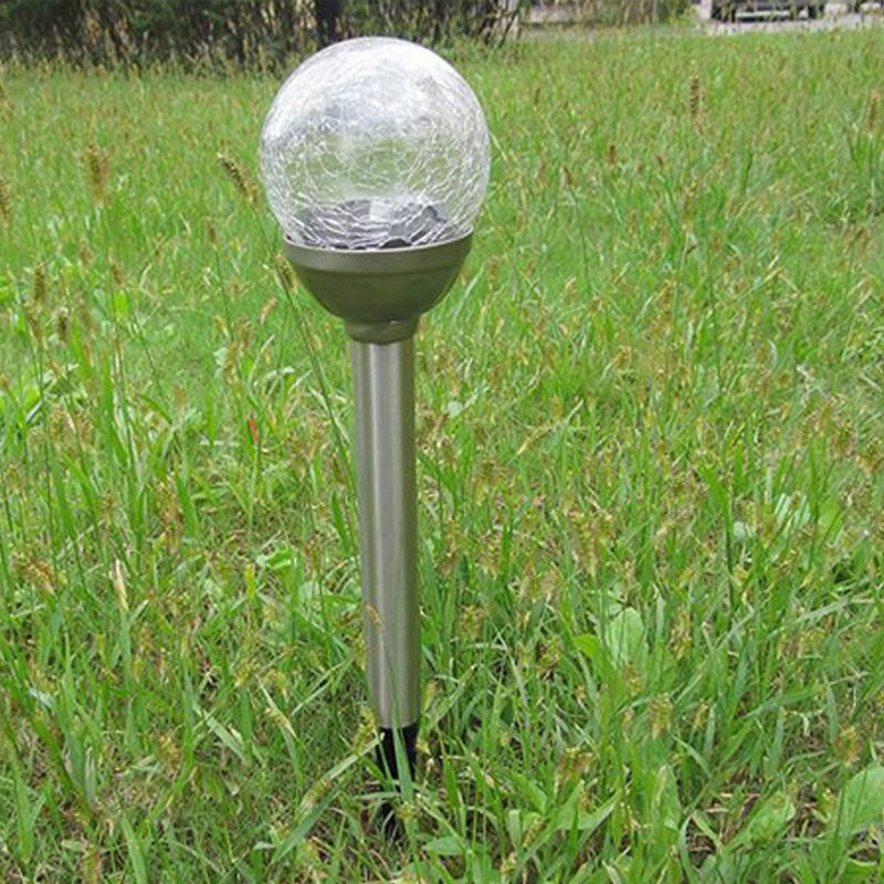 Solar Crackle Glass Ball Lights Garden Decor Stake Yard