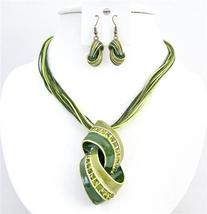 Olivine Green Jewelry Multistring Necklace Enamel Pendant Rhinestones - $22.48