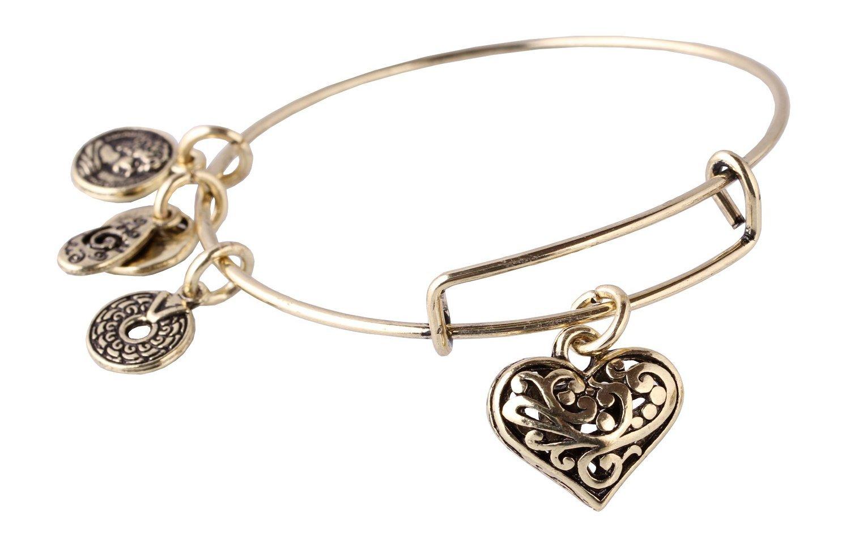 Antique Bronze Tone Expandable Wire Bangle Bracelet with Flower of Heart Pendant