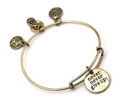 "Antique Bronze Tone Expandable Wire Bangle Bracelet ""Never Give Up!"" Pen... - $24.95"