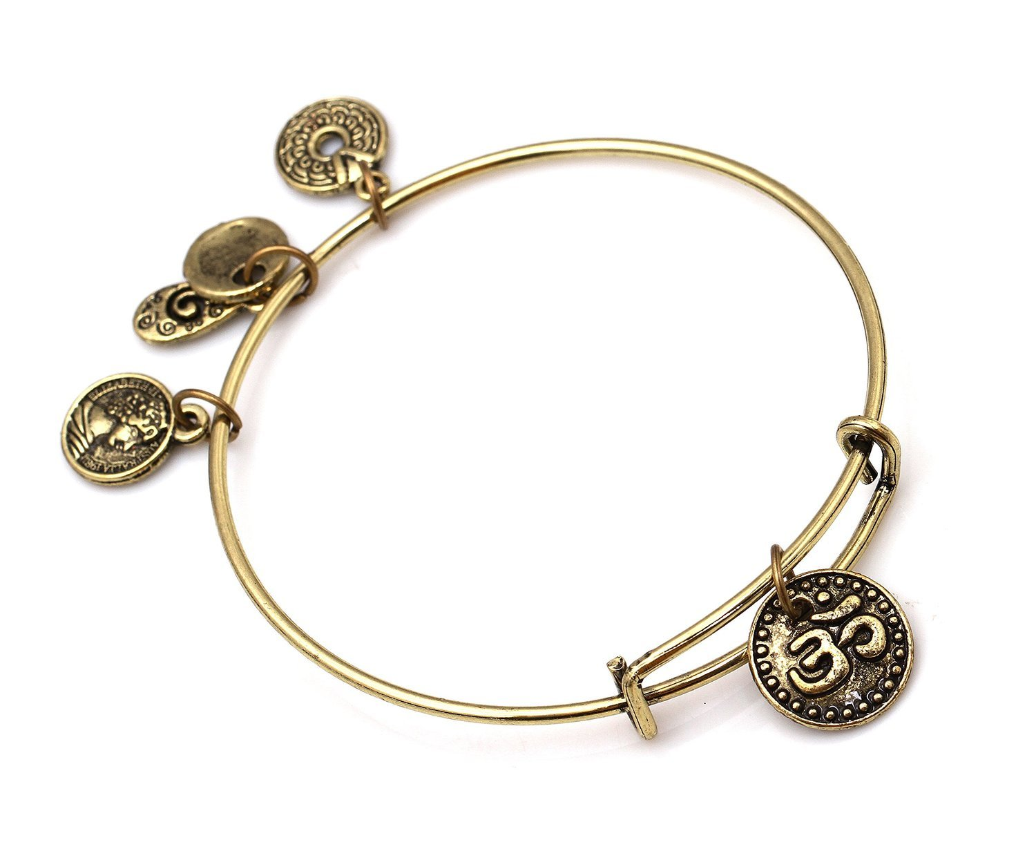"Antique Bronze Tone Expandable Wire Bangle Bracelet  with ""OM"" Pendant"