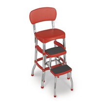 Cosco Retro Counter Chair Step Stool Classic Red Kitchen MultiUse Vintage - $70.26