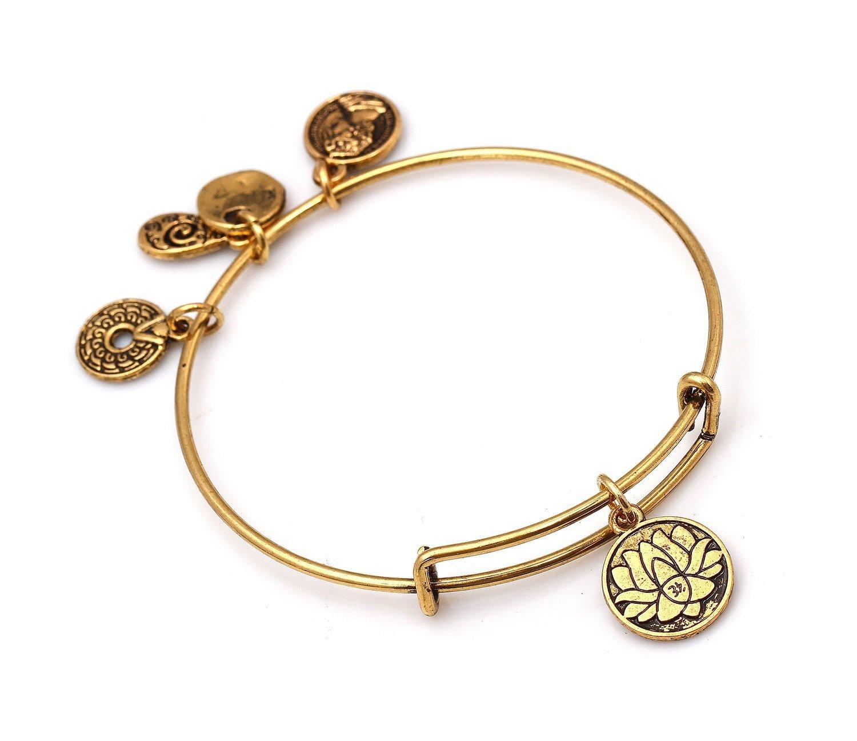 """Antique Gold Tone Expandable Wire Bangle Bracelet with """"Lotus Petals"""" Pendant"""