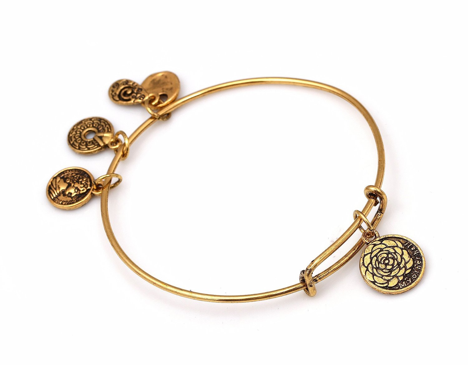 """Antique Gold Tone Expandable Wire Bangle Bracelet with """"My Other Half"""" Pendant"""