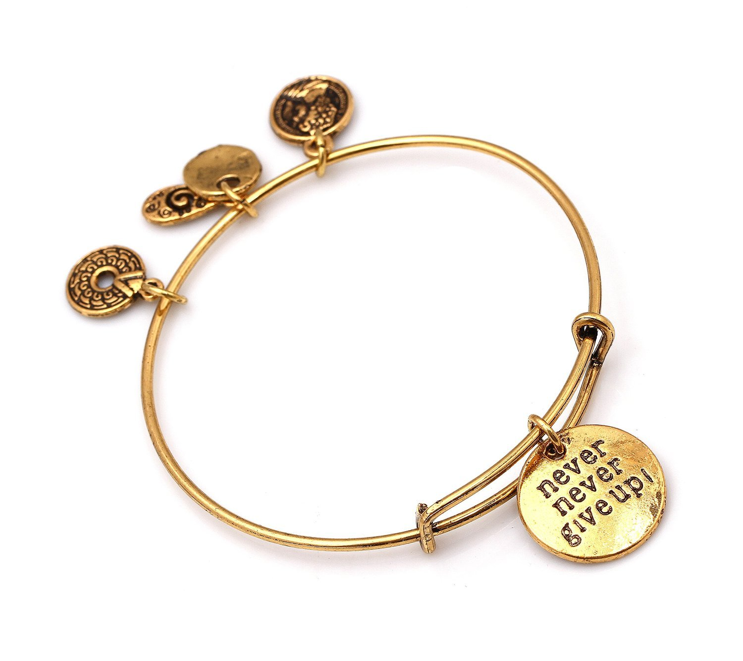 """Antique Gold Tone Expandable Wire Bangle Bracelet with """"Never Give Up!"""" Pendant"""