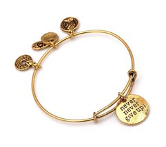 """Antique Gold Tone Expandable Wire Bangle Bracelet with """"Never Give Up!"""" ... - $22.95"""