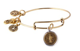 Antique Gold Tone Expandable Wire Bangle Bracelet with Saint Benedict Medal - $19.95