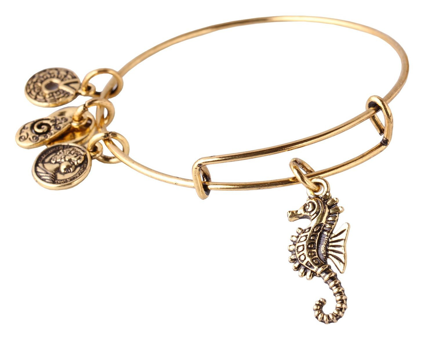 "Primary image for Antique Gold Tone Expandable Wire Bangle Bracelet with ""Seahorse"" Pendant"
