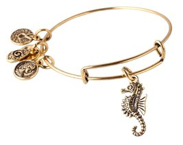 "Antique Gold Tone Expandable Wire Bangle Bracelet with ""Seahorse"" Pendant - $22.95"