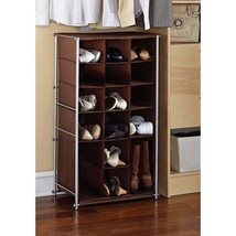 Durable Mainstays Silve/Brown Shoe and Boot Rack - $43.53