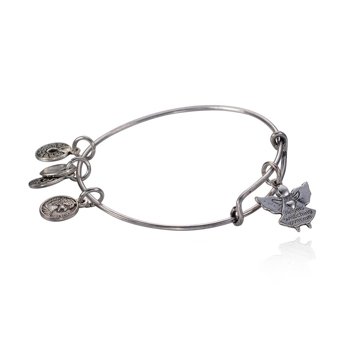 "Antique Silver Tone Expandable Wire Bangle Bracelet with ""Angel"" Pendant"