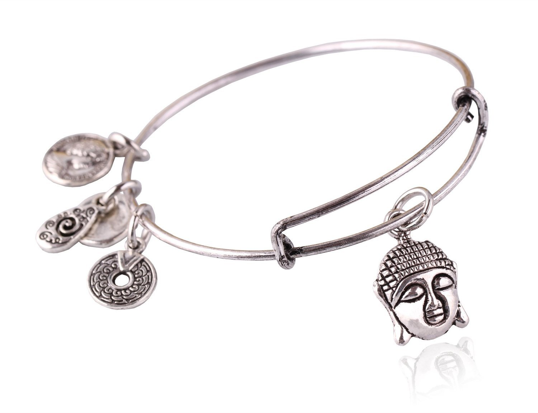 "Antique Silver Tone Expandable Wire Bangle Bracelet with ""Buddha"" Pendant"