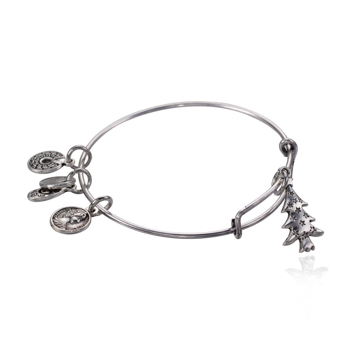 "Antique Silver Tone Expandable Wire Bangle Bracelet; ""Christmas Tree"" Pendant"
