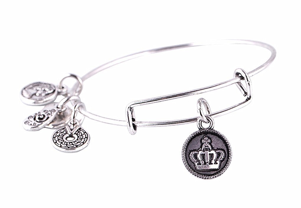 "Primary image for Antique Silver Tone Expandable Wire Bangle Bracelet with ""Crown"" Pendant"