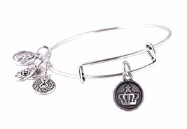 "Antique Silver Tone Expandable Wire Bangle Bracelet with ""Crown"" Pendant - $22.95"