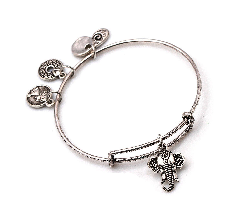 "Antique Silver Tone Expandable Wire Bangle Bracelet with ""Elephant"" Pendant"